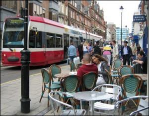 Tram and café